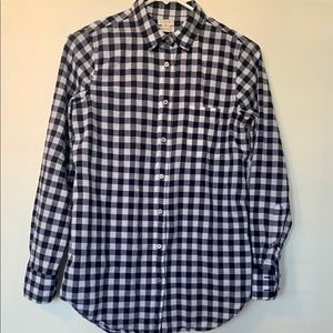 J Crew Gingham Button Down Navy and White. XS